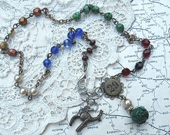 fall rose necklace assemblage stag deer petite green small pendant