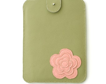 Leather iPad Mini Case for women // Green and Pink, mothers day