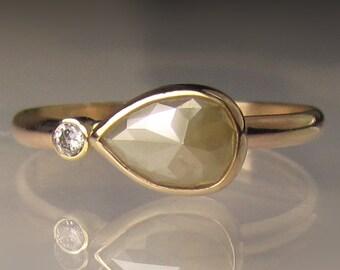 Rose Cut Diamond Engagement Ring, Rough Cut Diamond Ring, Rose Cut Diamond Ring, Recycled 14k Gold Diamond Ring, OOAK