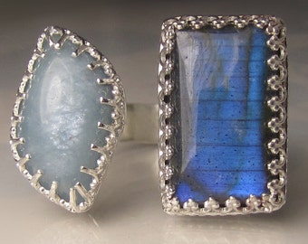 30% OFF SALE, Aquamarine and Labradorite Ring, Open Face Cocktail Ring, Labradorite Double Stone Ring, Size 8 - 8.25