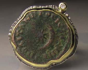 Ancient Coin Ring, Ancient Roman Coin Ring, Authentic Ancient Coin,  Ancient Crescent Moon and Star in 18K Yellow Gold and Sterling