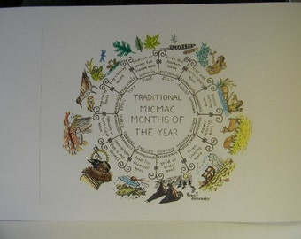 Traditional Micmac Months of the Year-color graphic print