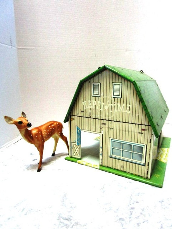 Vintage Toy Metal Barn Happi Time By Marx Child S Tin