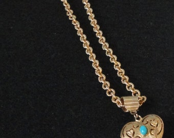 Vintage gold Tone metal Heart with Faux Turquoise Cabochon Necklace.
