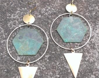 Brass hexagon dangles