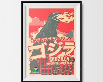 Godzilla Poster, Inspired, Retro, Vintage, Offset, Print (A3) Retro Print, King of the Monsters, Godzilla Print