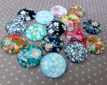 free UK postage 14mm Floral Cabochon Mix Pack of 15