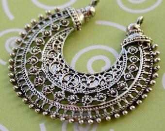 8 pcs antique silver colour Chandelier Earring Component, connector, pendant, filigree