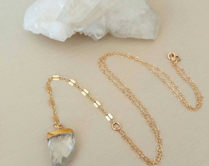 Featured listing image: NEW ! Gold chain and Crystal Quartz gemstone lariat Y Necklace. Sparkle. Horn. Faceted. Short. Dainty. Boho. Gift.