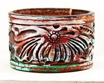 Woodland Earthy Bracelet - Leather Cuff Bohemian Jewelry - Boho Vintage Handmade Tooled Belt