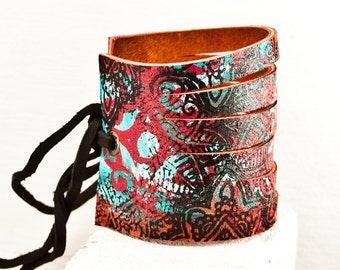 Art Noveau Jewelry Women's Cuffs Wristbands Leather Bracelets Unique Accessories Festival Gift Ideas