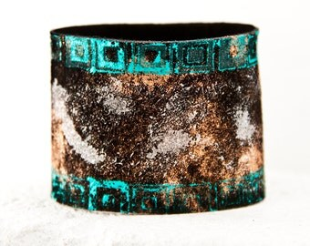Leather Jewelry Cuff Black Bracelets Wristbands Painted Wrist Cuffs 2017