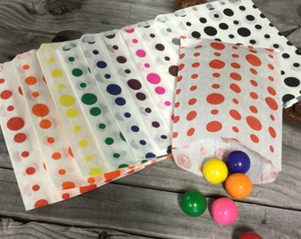 50% OFF!! Set of 25 - Traditional Polka Dot Sweet Shop Paper Bags - 5 x 7 Size