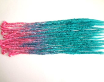15 Pink to blue ombre dreadlocks. Synthetic dreads, dreadlocks, dreads, synthetic dreadlocks, dreadlock extensions, long thin single ended