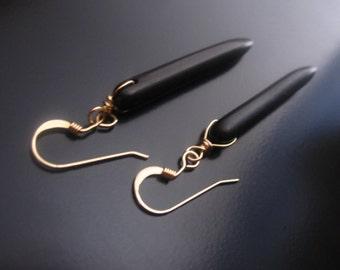 Black Spike Earrings, Black Howlite Spike Sticks, 14K Gold Fill, Black Turquoise Earrings, Turquoise Earrings, Howlite Dangle Drop Earrings