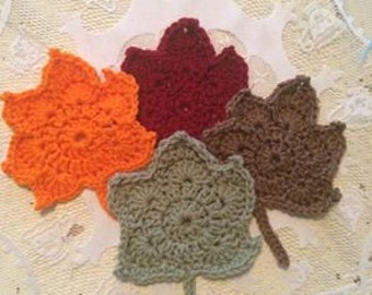 Fall Leaf hand crocheted coasters set of 4