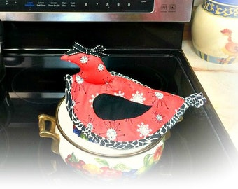 Handmade retro 1950's chicken pot holder, chicken, homemaking, kitchen, cooking, Bridal gifts, country, farm