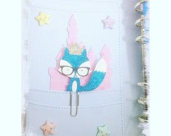 Paper planner clip kawaii cute fox glitter blue kawaii