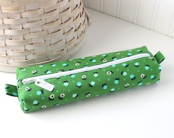 Green Floral Cute Pencil Case Boxy Pouch Green Zipper Pouch