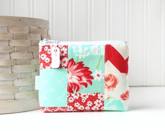 Red and Aqua Patchwork Coin Purse Gift Card Credit Card Holder Floral Zipper Pouch Chevron Change Purse