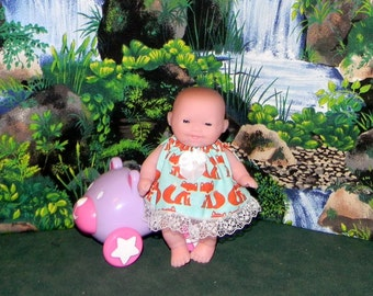 LC5DP-09) 5 inch Lil Cutesies Berenguer baby doll clothes, 1 dress and panties (fits the big and little head babies