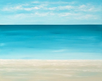 Seascape Beach Painting Modern Ocean Painting Contemporary  Beach Art Abstract Blue Tropical Caribbean Modern Original Seascape