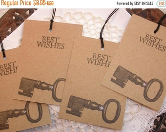 SALE FREE SHIPPING Wedding Wish Tree Tags Skeleton Key Glittered Wishing Tree Cards Brown and Black