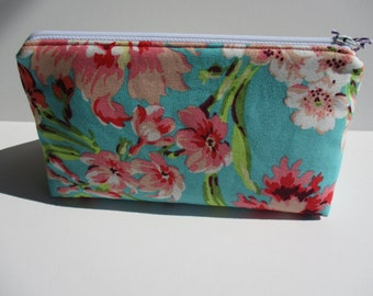 Teal and Pink Floral Amy Butler Love Bliss Bouquet Makeup Cosmetic Bag Zipper Pouch