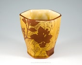 Faceted honey ceramic tumbler, pottery cup, handmade drinking cup