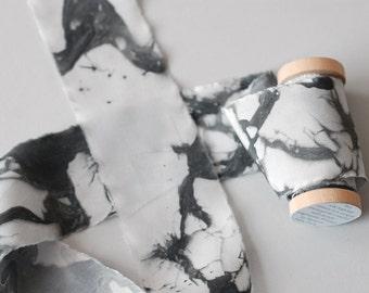 Ice Floe Marbled Silk Ribbon