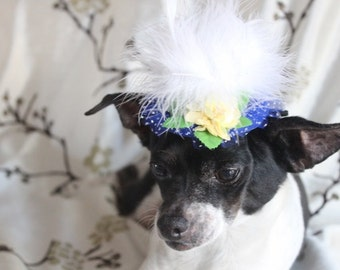 Cute  blue  color  mini  hat with   white feather and   flowers for dog or cat