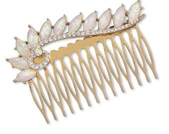 Bridal crystal and opal hair comb