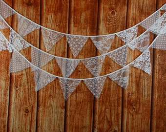 3.2M 12 flags Wedding Bunting Party Bridal Shower Handmade Decoration Photo Prop Cream Lace Fabric Garland Vintage Room Decor