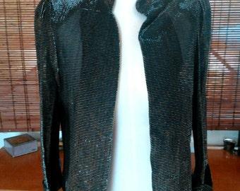Vintage silver and blacke metalllic Mandarin collar sheerr jacket M