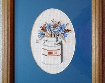 Blue Wildflowers in a Milkcan -  Floral Cross Stitch Picture - Wall Decor