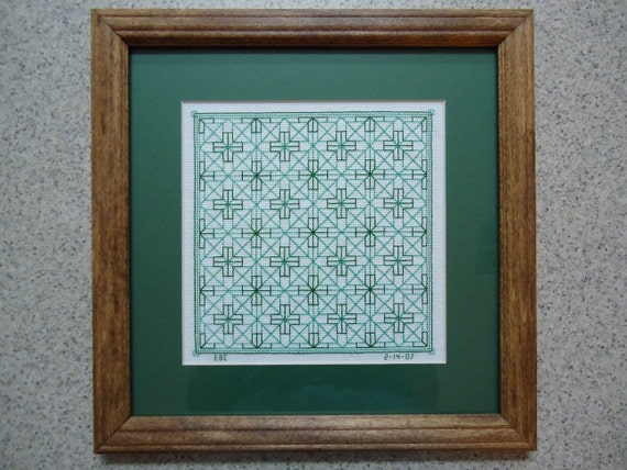 Green Celtic Crosses - Inspirational Cross Stitch Picture - Wall Decor