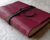 "Leather journal, 5.5""x 7.5, deep red/burgundy red/garnet red, handmade journal by Dancing Grey Studio (1924)"