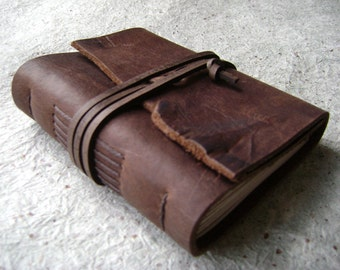 "Handmade Leather Journal, 3.5""x 4.5"", distressed brown journal (2108)"