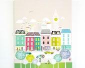 London Wall Art, Canvas Skyline Print Framed, Cityscape Illustration Picture, Home decor, for kids room, nursery, bedroom, kitchen, MCLBB1