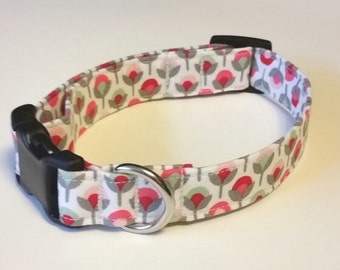 Springtime Flowers in Pinks and Gray Too Fabric Collar
