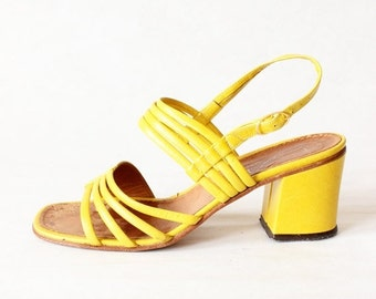 ON SALE 1960s Shoes/ Vintage Yellow Leather Strappy Chunky Heel Sandals, size 8