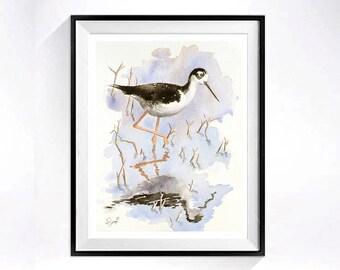 Wetlands Landscape Art / Watercolor Print / Nature landscape / Wildlife painting / Bird illustration /  black white / 8 x 10 L