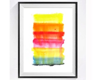 1. Boldness / Abstract Watercolor Print / Abstract art Painting / Modern art / Fine art Orange painting / Bright rainbow colors 12 x 16