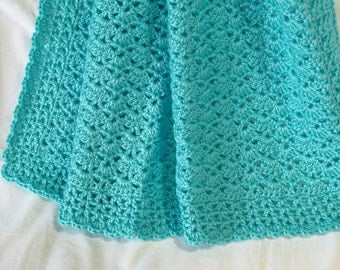 Aqua Baby Blanket Crochet Crib Car Seat Stroller Turquoise Afghan Baby Shower Homecoming Gift