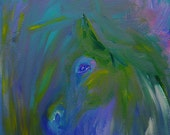 Peeking by Darlene Muto purple, blue, yellow, green, white, teal Abstract horse Acrylic Original Painting