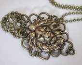 """Mens Lion Pendant Necklace Antiqued Gold Brass with 22 """" Antiqued Brass Ball Chain"""
