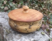 Wood Box with Lid - Hand Turned Lidded Wooden Box - Cherry and Spalted Maple Woods Wooden Box with Lid - Great gift idea