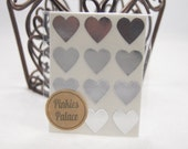 36 Silver Heart Stickers 3/4 Inch Stickers Envelope Seals Packaging Stickers