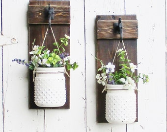 New...Rustic Chic Farmhouse Wall Decor on Stained Boards...Set of 2 Individual Hanging  Glass Hobnail Jars...Your Choice of Color
