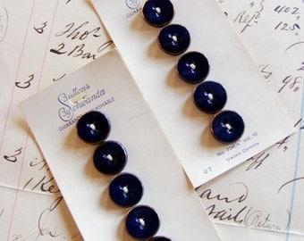 Vintage 1950's Schwanda Buttons Cobalt Blue Enamel Gold Trim 1/2 inch